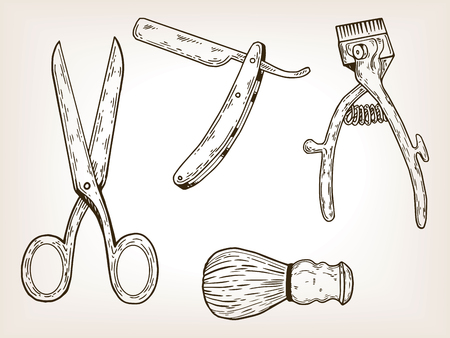 Kapper tools gravure vectorillustratie