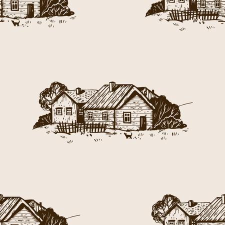 田舎の風景シームレスなパターン彫刻ベクトル 写真素材