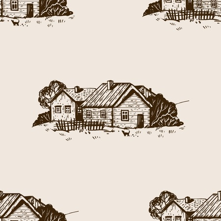 Rural landscape seamless pattern engraving vector