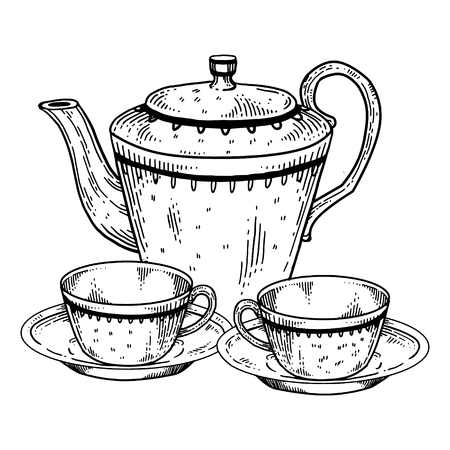Tea set utensil engraving vector illustration. Scratch board style imitation. Hand drawn image.