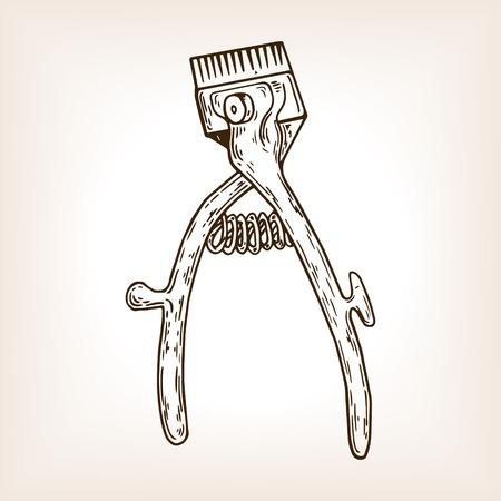 Barber tool mechanical hair clipper engraving illustration.