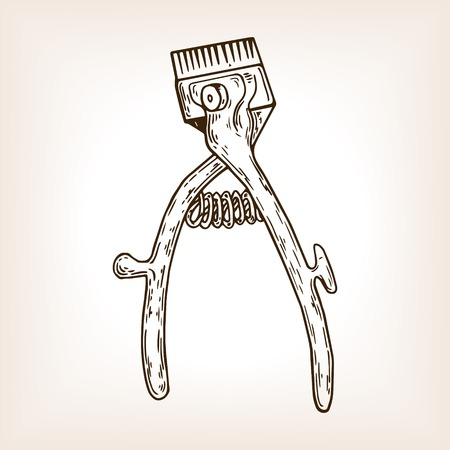Barber tool mechanical hair clipper engraving illustration.