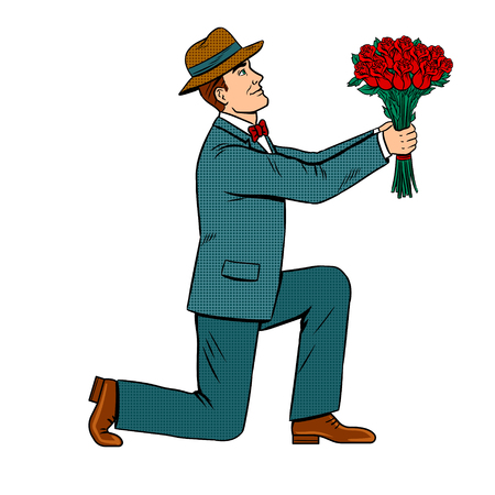 Man on one knee gives rose flowers bouquet pop art retro illustration.