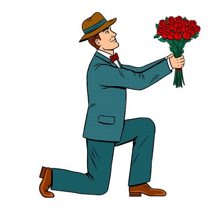 Mężczyzna na jednym kolanie daje ilustracji retro pop-artu bukiet kwiatów róży. Ilustracje wektorowe