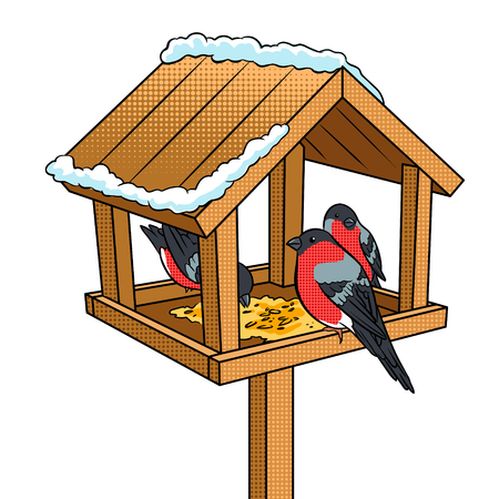 Winter bird feeder pop art retro vector illustration. Isolated image on white background. Comic book style imitation.