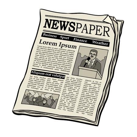 Newspaper pop art retro illustration.