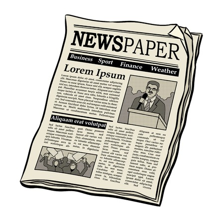 Newspaper pop art retro illustration.