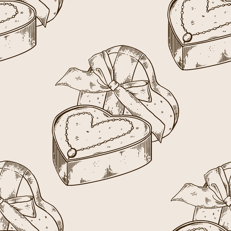 Collier de diamants sur une boîte cadeau en forme de coeur gravure modèle illustration vectorielle. Banque d'images - 92390942