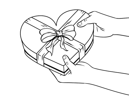 Red heart shaped gift box coloring book vector.