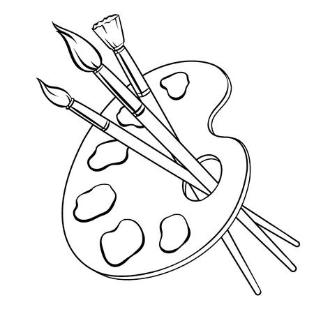 Palette avec des peintures et des pinceaux à colorier illustration vectorielle livre. Imitation de style bande dessinée. Vecteurs