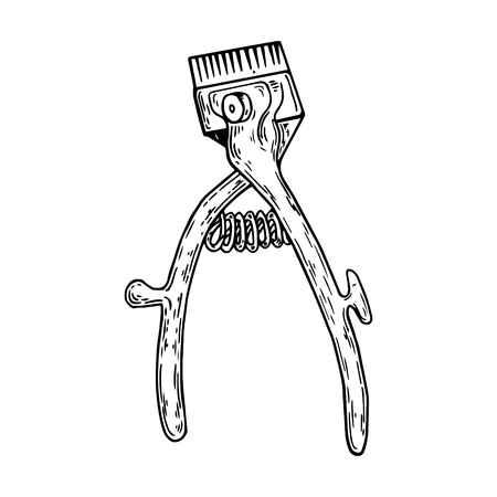 Hand hair clipper engraving vector illustration.