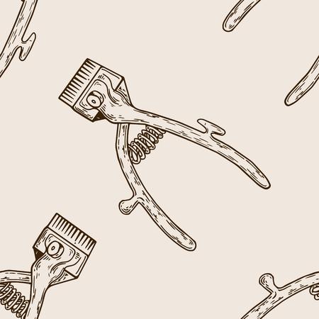 Hair clipper seamless pattern engraving illustration.
