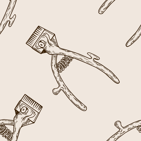 Hair clipper seamless pattern engraving illustration.