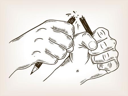 Hands break pencil engraving vector illustration.