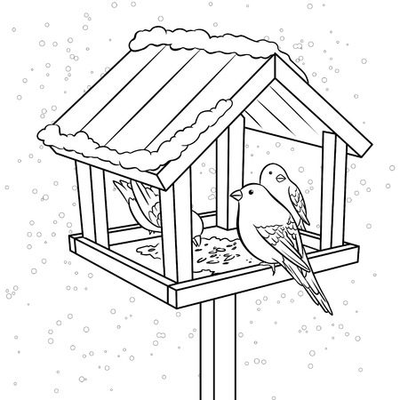 Winter bird feeder coloring book illustration.