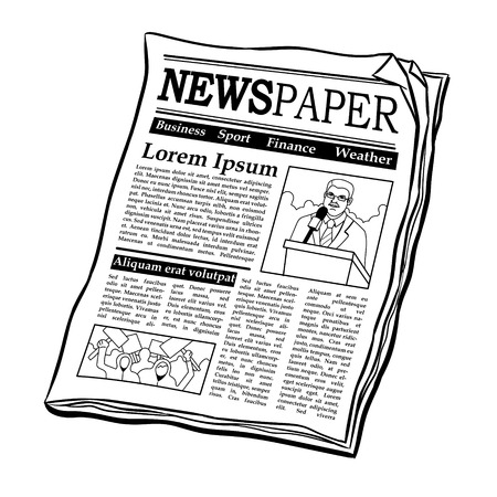 Newspaper coloring book vector illustration Иллюстрация