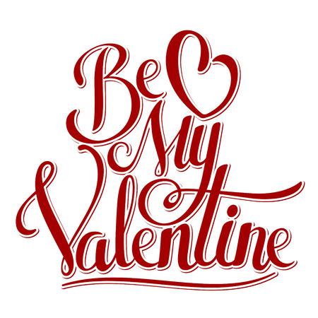 흰색 배경에 발렌타인 핸드 레터링 그림.