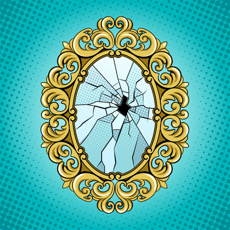Broken mirror pop art vector illustration.