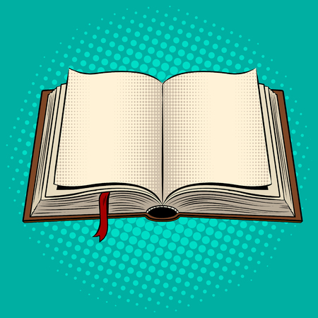 Open book pop art vector illustration.