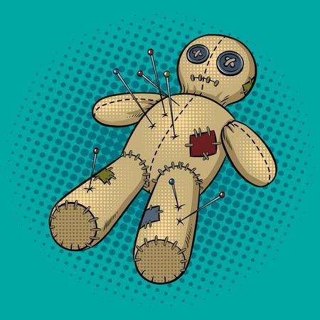 Voodoo doll pop art retro vector illustration. Comic book style imitation.