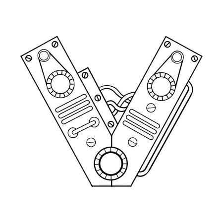 Mechanical letter V engraving vector illustration.