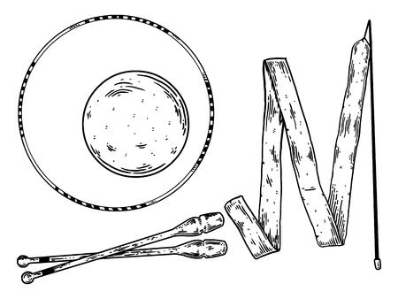 Sports equipment engraving vector illustration.
