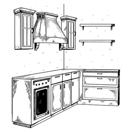 Kitchen furniture engraving vector illustration.
