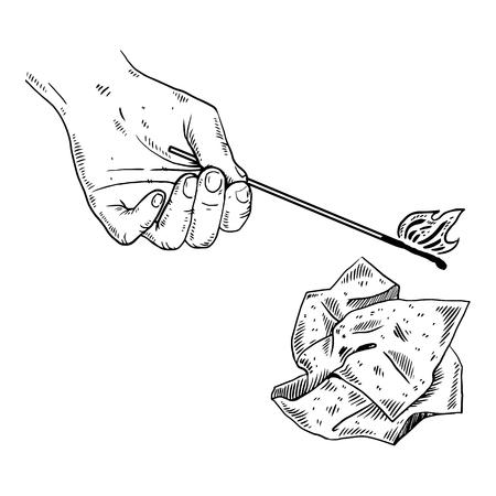 Hand, match and paper engraving vector illustration. Ilustração