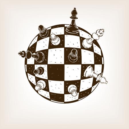 Spherical chess engraving vector illustration.