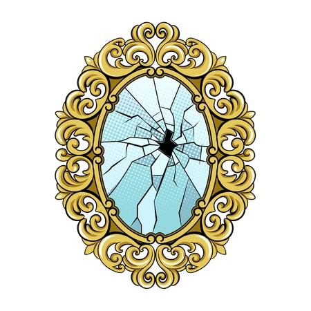 Broken vintage mirror pop art retro vector illustration. Isolated image on white background. Comic book style imitation.