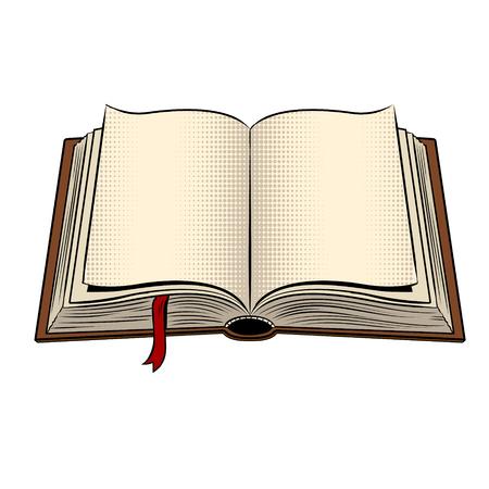 Open book pop art vector illustration Stock Illustratie