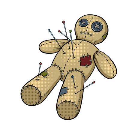 Voodoo doll pop art retro vector illustration. Isolated image on white background. Comic book style imitation.