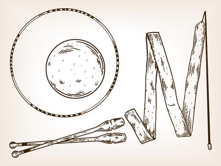Sports equipment engraving vector illustration