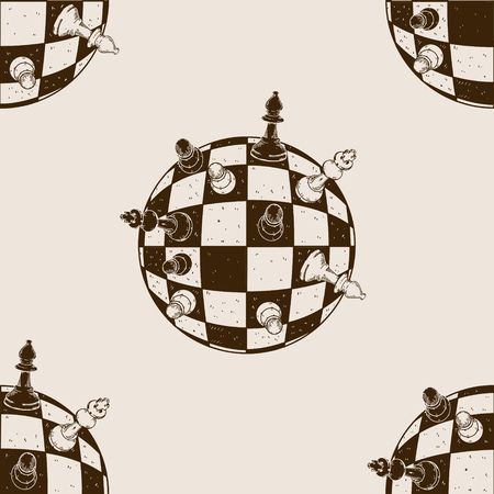 Spherical chess engraving seamless pattern vector illustration. Brown aged background. Scratch board style imitation hand drawn image.