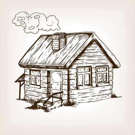 Village house engraving vector illustration