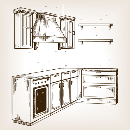 Kitchen furniture engraving vector illustration. Brown aged background. Scratch board style imitation hand drawn image.