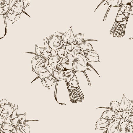 Calla flowers bouquet engraving seamless pattern vector illustration. Brown aged background. Scratch board style imitation. Hand drawn image. Ilustracja