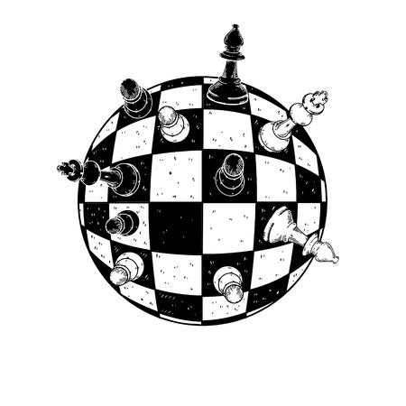 Spherical chess engraving vector illustration 일러스트