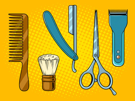 Kapper tools popart vectorillustratie