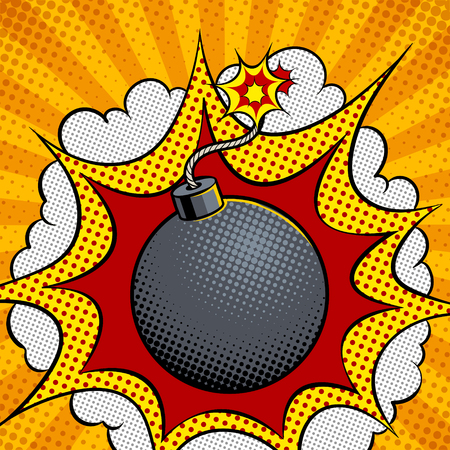 Exploding bomb pop art vector illustration