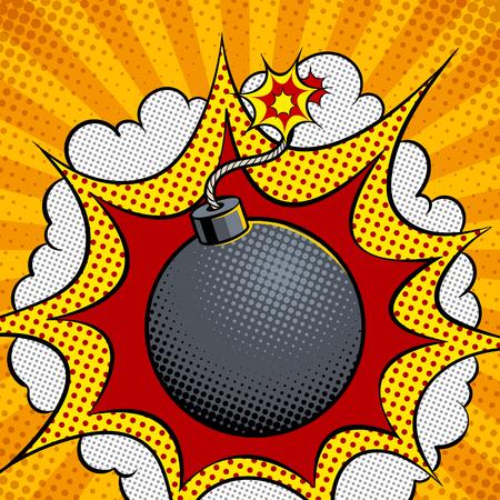 Exploding bomb pop art vector illustration