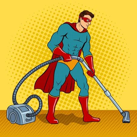 Superhero with vacuum cleaner pop art vector Illustration