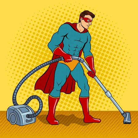 Superhero with vacuum cleaner pop art vector Stock Illustratie