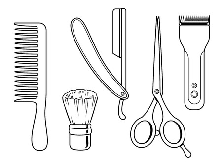 Barber tools coloring book vector illustration. Comic book style imitation.