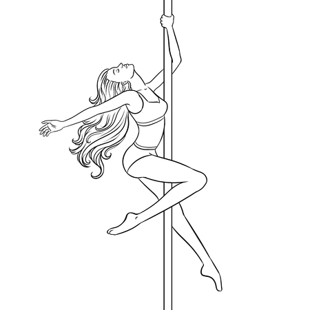 Girl is dancing on pole coloring book vector illustration. Comic book style imitation. Иллюстрация