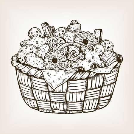 Basket with cookies and sweets engraving vector illustration. Brown aged background. Scratch board style imitation. Hand drawn image.