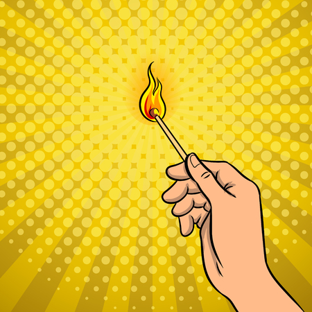 Hand with burned match pop art retro vector illustration. Comic book style imitation.