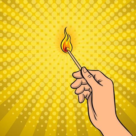 Hand with burned match pop art retro vector illustration. Comic book style imitation.