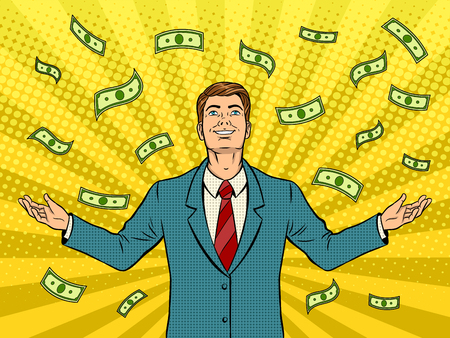 Businessman and money rain pop art retro vector illustration. Comic book style imitation. 矢量图像
