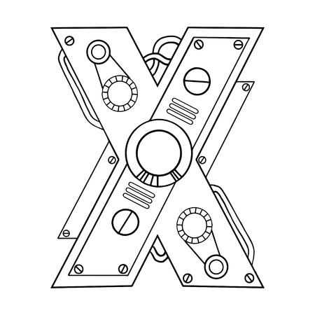 Mechanical letter X engraving vector illustration. Font art. Scratch board style imitation. Hand drawn image.